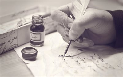 перо, ченило, рука, письмо