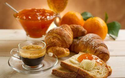 Сніданок, завтрак, круассан, мёд