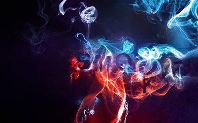 Абстрактный, голубой, дым, Абстрактний, блакитний, дим