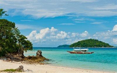 тропические острова, катер, пляж, океан, пальмы, песок