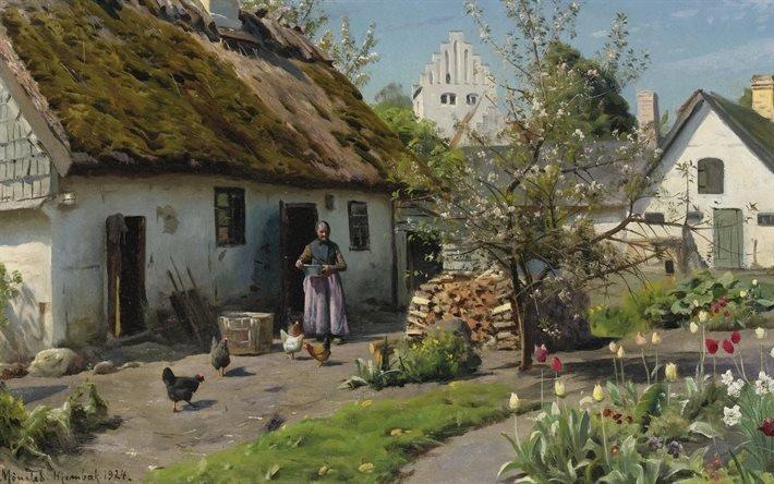 Петер Мерк Менстед, Peder Mork Monsted, датский живописец, 1924, Весна в Хембаек, Spring in Hjembaek