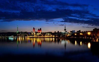 Баку, ночь, отражение, Азербайджан