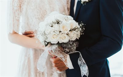 свадебный букет, белые розы, жених и невеста, белое свадебное платье, свадьба, весільний букет, білі троянди, наречений і наречена, біле весільне плаття, весілля