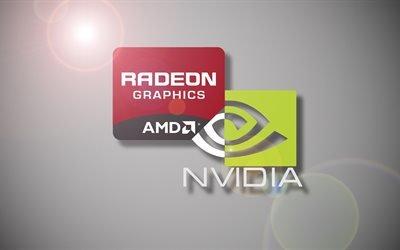 логотип, Nvidia, AMD, Radeon, логотипы