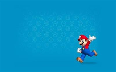 Super Mario, персонажи, Супер Марио, голубой фон