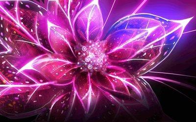 лепестки, неоновый свет, абстракция, цветок, пелюстки, неонове світло, абстракція, квітка