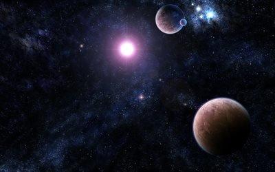 планеты, яркая звезда, вселенная, яскрава зірка, всесвіт