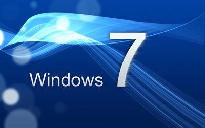 Windows 7, голубой фон, Севен, Seven, логотип