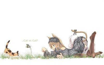 неко, котёнок, girl, настроение, девочка, butterfly, бабочка, kitten, mood, neko