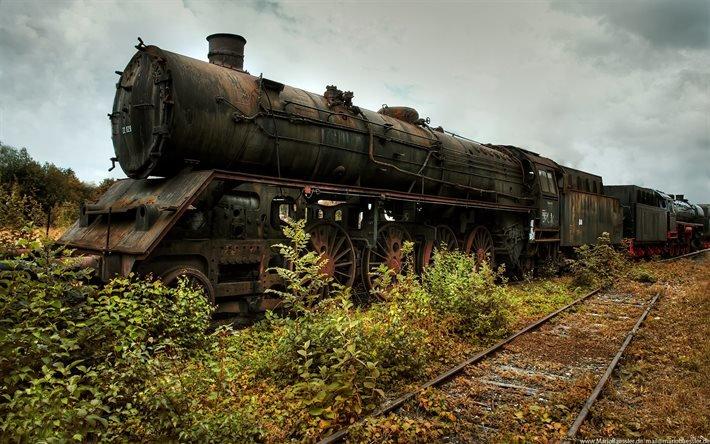 Локомотив, паровоз, старый, ржавый, состав, рельсы, бурьян, небо, облака