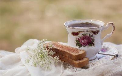 ткань, чашка, чай, хлеб, сухари