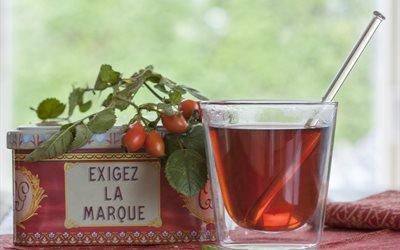 стакан, напиток, чай, ягоды, шиповник