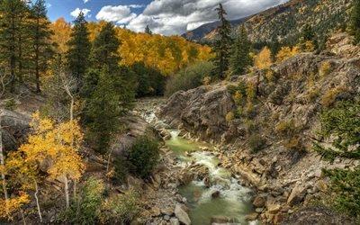 горная река, лес, осень, горы, скалы