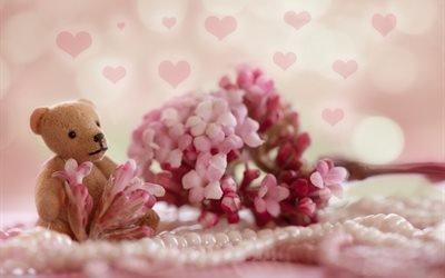 игрушка, мишка, цветок, ожерелье, жемчуг, боке
