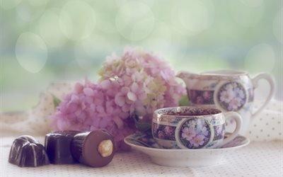 натюрморт, чашки, цветы, гортензия, конфеты, боке