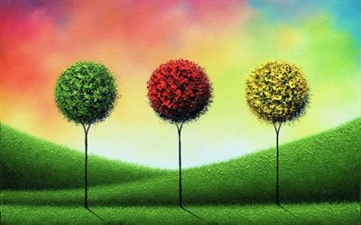 разноцветные деревья, лето, осень, пейзаж, природа