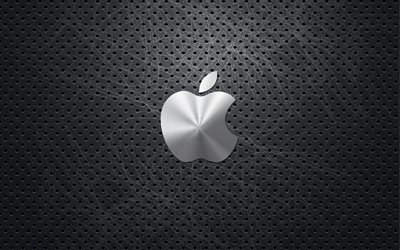 Логотип Эпл, металлическая сетка, креатив, 4к, Apple