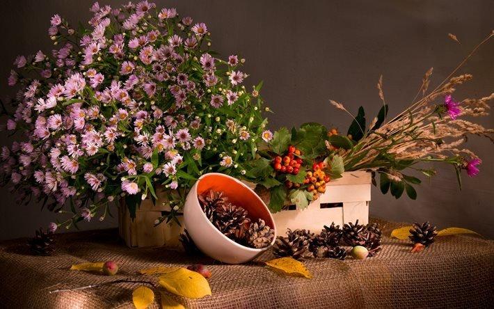 натюрморт, короб, цветы, трава, миска, шишки, ткань, мешковина, ветка, калина, ягоды, листья