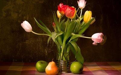 натюрморт, скатерть, ваза, цветы, тюльпаны, фрукты, груша, яблоки