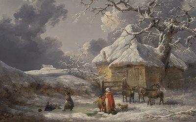 Джордж Морланд, George Morland, English painter, английский художник, 1785, A Fall on the Ice, Падение на льду