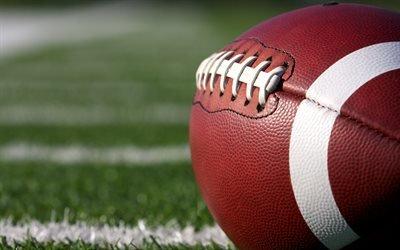 американский футбол, 4к, регби, мяч, шнурки наружу