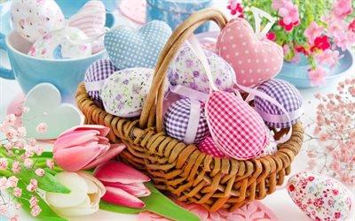 Пасха, 4к, корзина, пасхальные яйца, цветы, пасхальные декорации