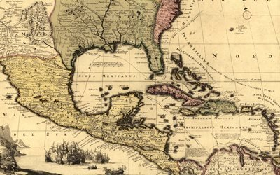Старые карты, Северная Америка и Центральная Америка, 1710, Old Maps, North America and Central America