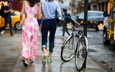 Мостовая, Дождь, Нью - Йорк, Девушки, Настроения