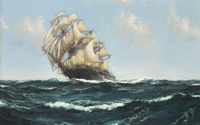 """Монтегю Доусон, Montague Dawson, British painter, британский художник, Быстро летящая """" Славная Молния """", Bowling Along - """" Glorious Lightning """""""