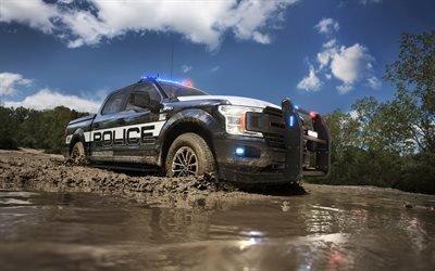 Форд Ф-150, оффроад, полицейский автомобиль, 2017, 4к, пикапы, грязь, Форд
