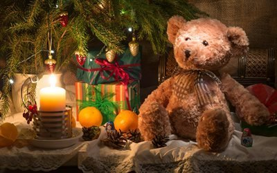 ветки, ель, ёлка, игрушки, новый год, мишка, коробки, подарки, свеча, фрукты, апельсины, ткань, мешковина, шишки