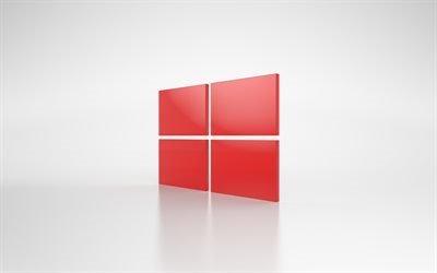 Windows, красный логотип, серый фон