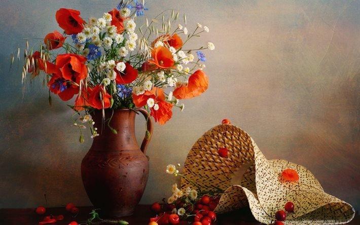васильки, кувшин, маки, ягоды, овёс, черешня, колосья, цветы, шляпа