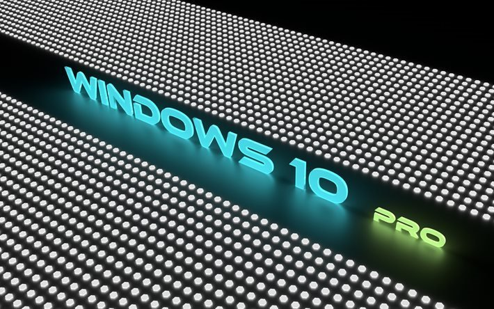 Windows 10 Pro, 4K, заставки, неоновые буквы, креатив