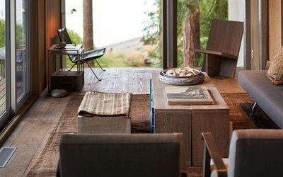 Деревянный домик в сосновом лесу, Пьюджет - Саунд, штат Вашингтон, Cabin at Longbranch, Puget Sound, Washington state
