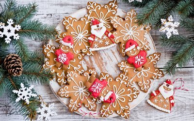 доски, выпечка, печенье, пряники, ветки, ель, ёлка, снежинки, шишка, рождество, праздник