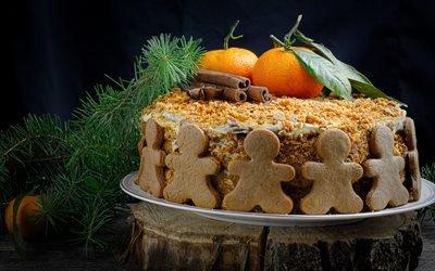 доски, дерево, торт, печенье, человечки, фрукты, мандарины, специи, корица, бадьян, ветки, хвоя, рождество, праздник