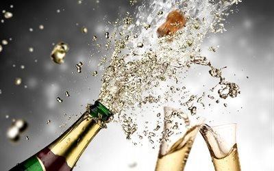 бутылка, шампанское, бокалы, пробка, брызги, праздник