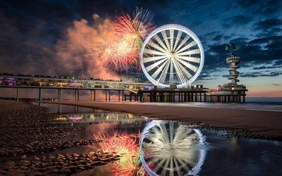Пляж, Северное море, Международный фестиваль фейерверков, Схевенинген, Нидерланды, Beach, North sea, Scheveningen, Netherlands