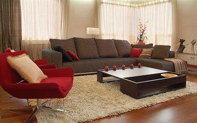 современный интерьер, диван
