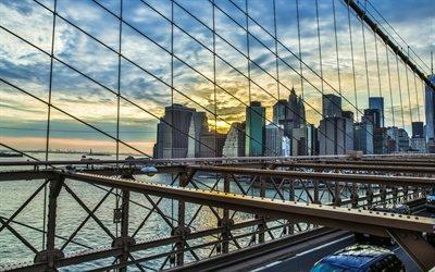 Рассвет, Бруклинский мост, Манхэтен, Нью-Йорк