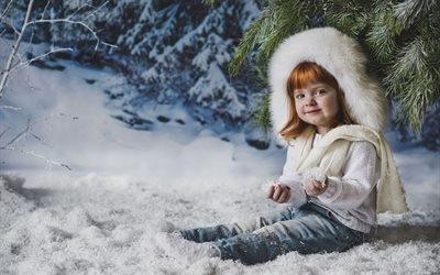 Елка, Девочка, Снег
