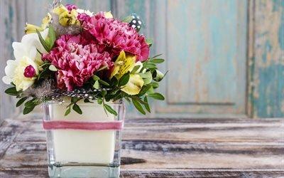 доски, ваза, цветы, гвоздики, пионы