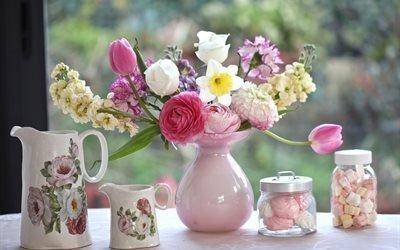 натюрморт, кувшины, цветы, банки, зефир