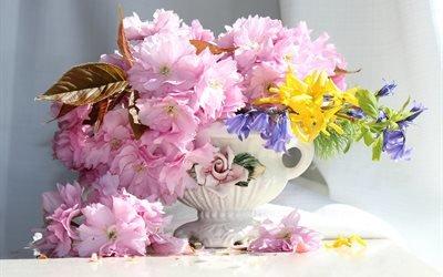 ваза, цветы, ветка, сакура, гиацинты