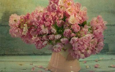 доски, ваза, цветы, розы