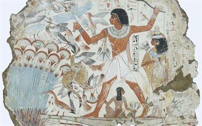 Фрагмент сцены охоты в тростниках из гробницы Небалона, Фивы, Египет, Британский Музей