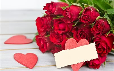 праздник, букет, розы, сердечки, доски