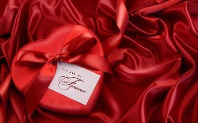 сердце, подарок, красный, лента, атлас, бант, atlas, bow, heart, gift, red, tape