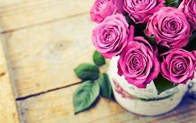 букет, цветы, розы, ваза, доски